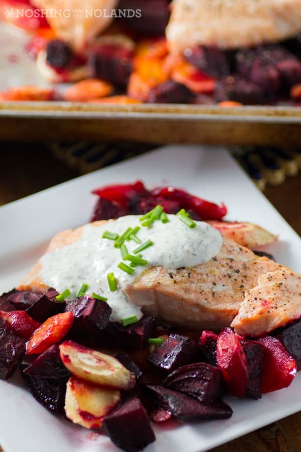 -Roasted Salmon and Root Vegetables with Horseradish Sauce 5 (Custom)