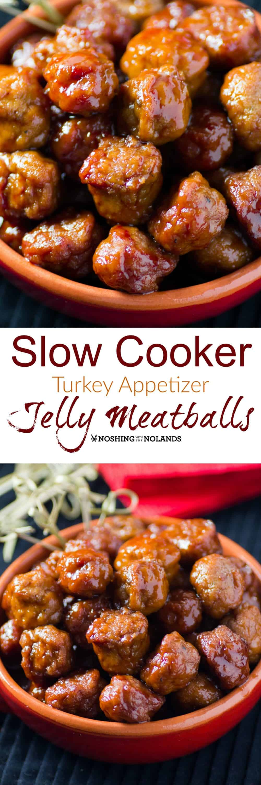 Slow cooker turkey appetizer jelly meatballs sundaysupper for Meatball appetizer recipe crockpot