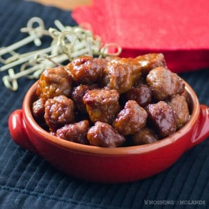 Slow Cooker Turkey Appetizer Jelly Meatballs #SundaySupper