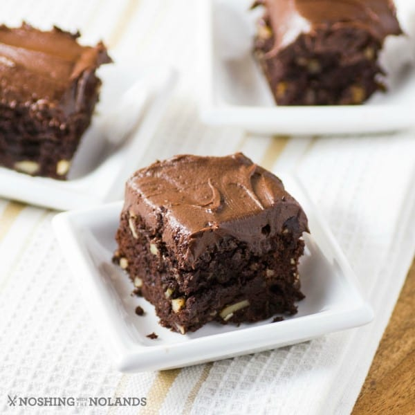 Brownies on small white plates
