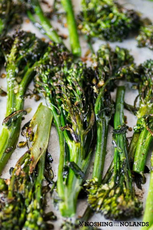 Garlic Roasted Broccolini from the oven