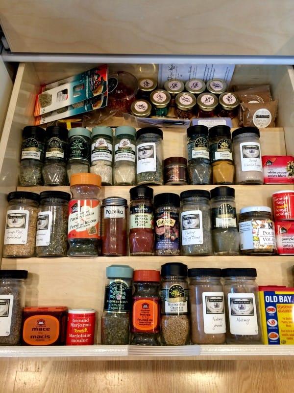 ShelfGenie spice drawer with organized Glide-Out shelf