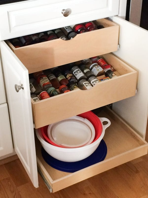 ShelfGenie pull-out shelves for spice drawer organization