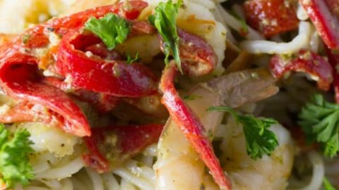 Shrimp and Pesto with Red Peppers