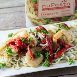 NuPasta Shrimp and Pesto with Red Peppers