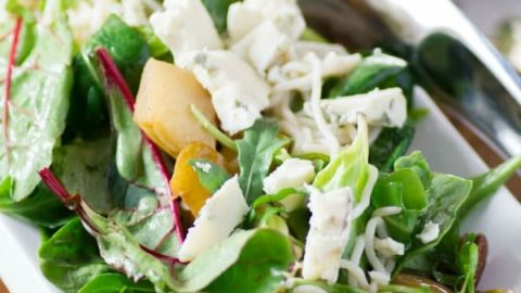 Caramelized Pear, Pecan, Gorgonzola Noodle Salad