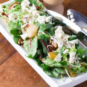 Caramelized Pear, Pecan, Gorgonzola Noodle Salad