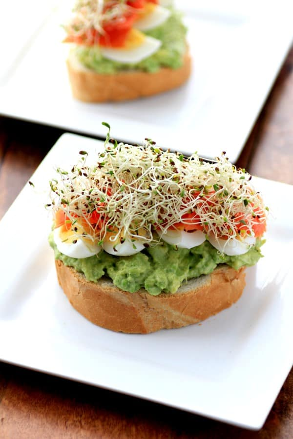 Open Faced Egg Avocado Smoked Salmon Sandwich by Noshing With The Nolands