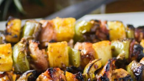 Bacon Wrapped Chicken & Pineapple Skewers