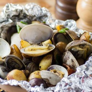 Clam, Bacon, Little Potato Foil Packs