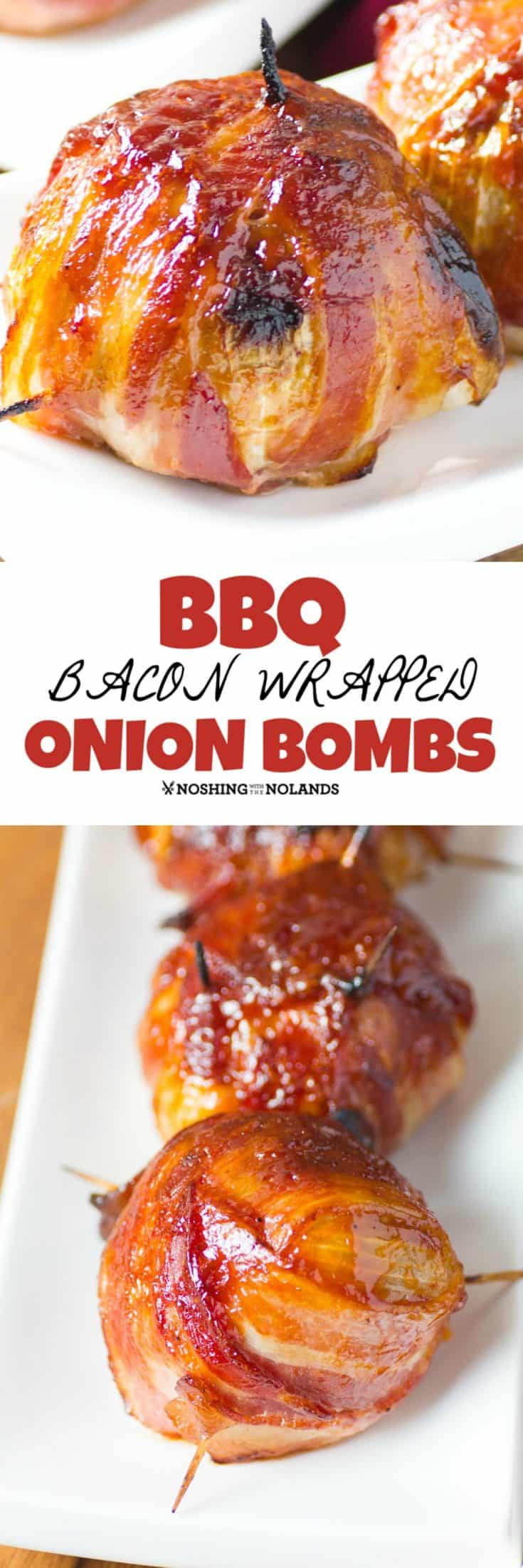 BBQ Bacon Wrapped Onion Bombs are an extravaganza of flavors. A treat that a real meat lover is going to go crazy for!! Great Father's Day meal too!! #onionbombs #bacon #bbq #baconwrapped #fathersday