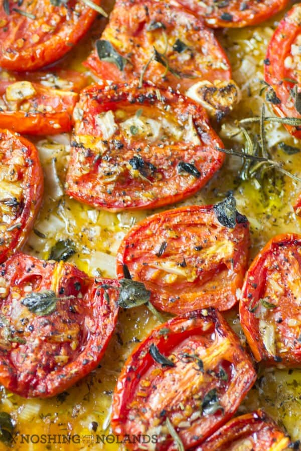 Roasted Italian Tomatoes on a baking sheet hot out of the oven