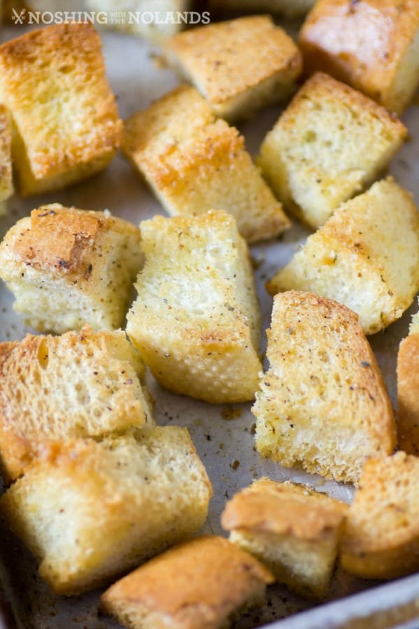 Close up of croutons