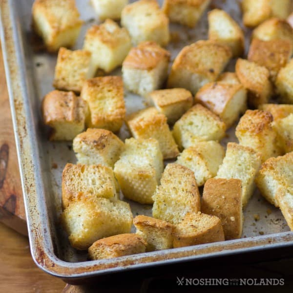 Leftover Bread Croutons on a baking sheet