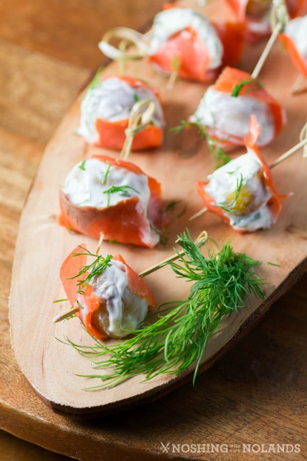 Smoked Salmon Wrapped Dill Chive Potatoes