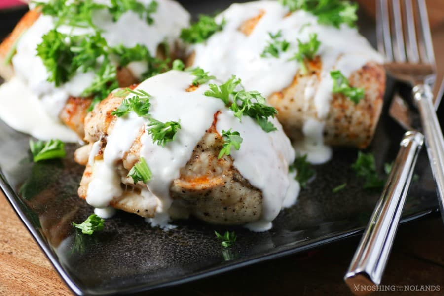 Mushroom, Spinach, Feta-Stuffed Chicken with Parmesan Cream Sauce