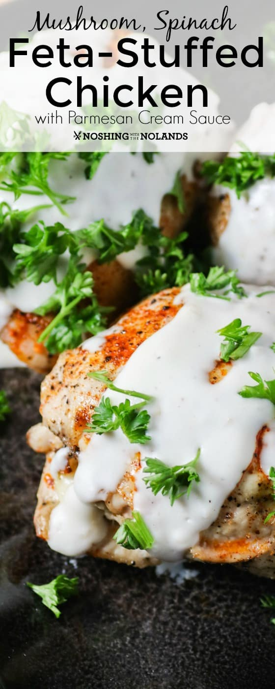 Mushroom Spinach Feta Stuffed Chicken With Parmesan Cream Sauce
