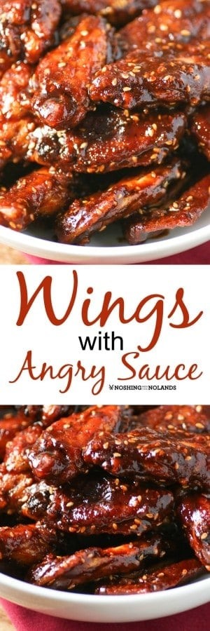 Using harissa with sugar and honey give these Wings with Angry Sauce the perfect heat! Great appetizer for game day or anytime! #wings #gameday #appetizer #sweetheat