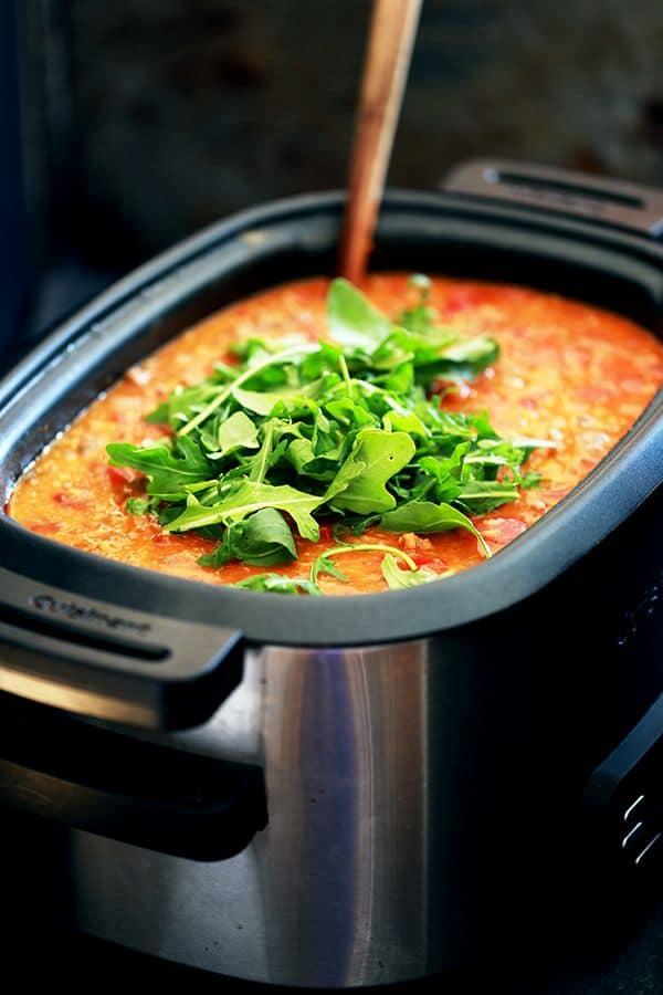 Slow Cooker Sausage Lentil and Arugula Soup by Melanie Makes