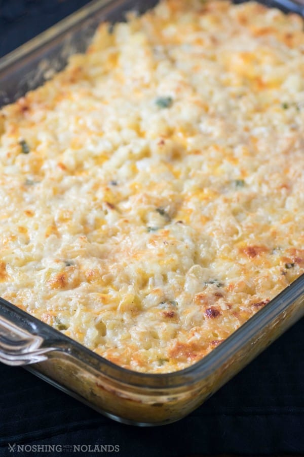 """Baked Cheddar Hash Brown Casserole Recipe in a 9x13"""" pan"""
