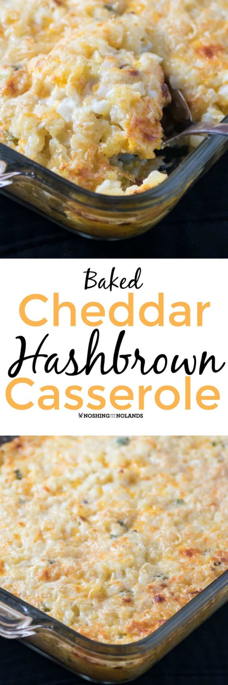 Baked Cheddar Hash Brown Casserole is great breakfast casserole that can be served at any time of the day. Frozen hash browns make a quick and easy side dish that everyone will love! #hashbrowns #casserole
