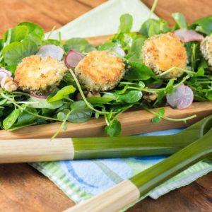Watercress Radish Walnut Salad with Crispy Herbed Goat Cheese Rounds
