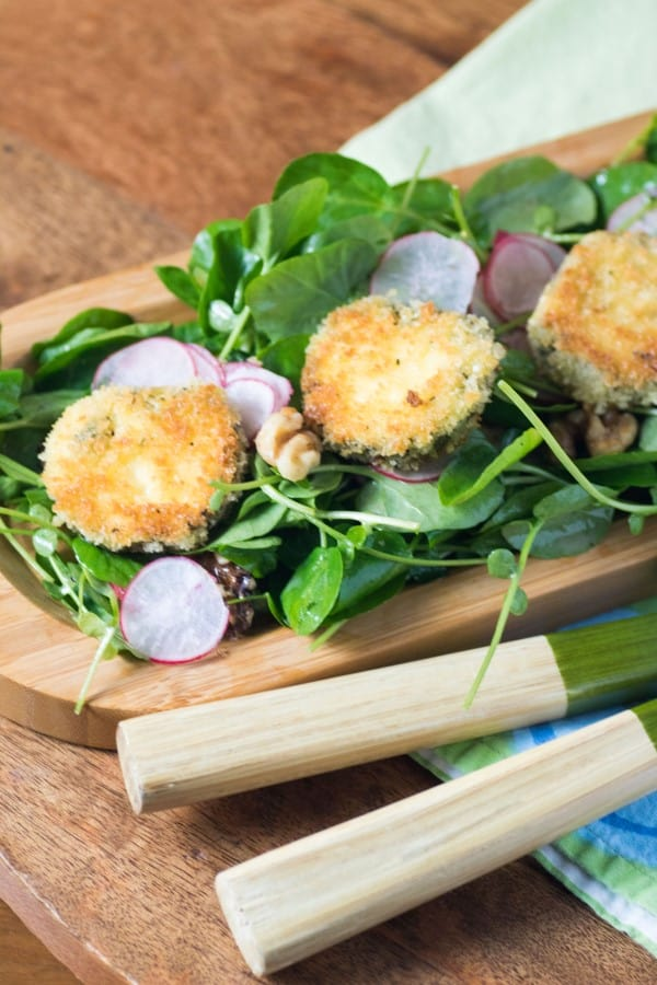 Watercress Radish Walnut Salad with Crispy Herbed Goat Cheese Rounds
