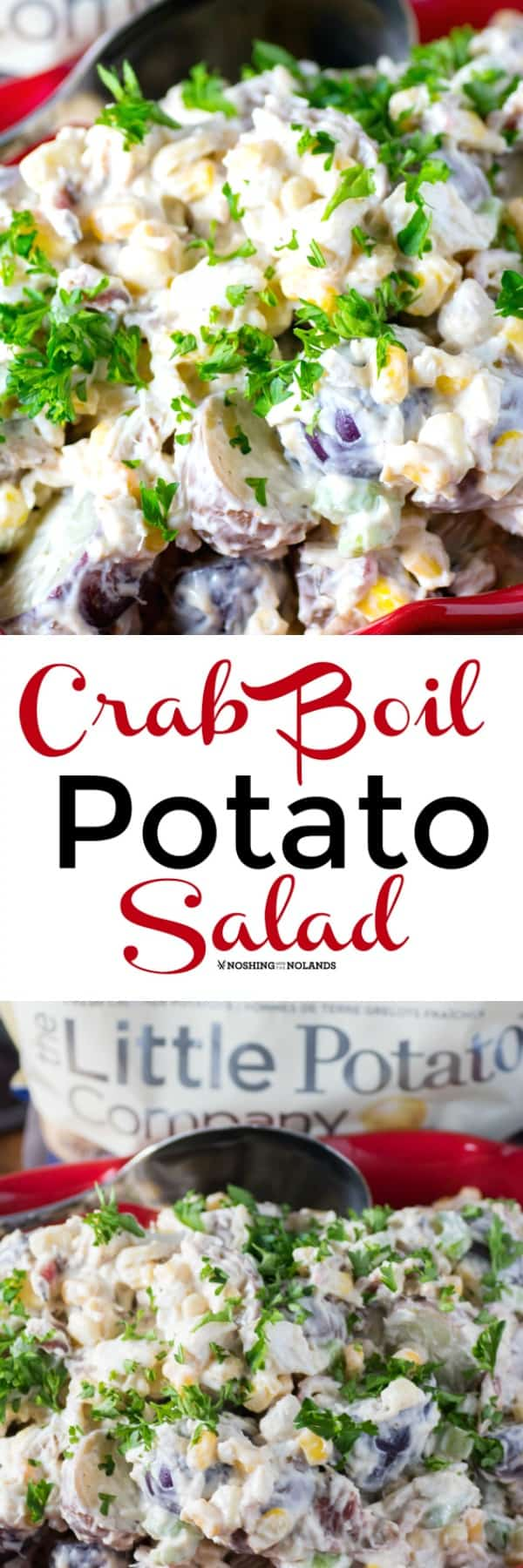 This Crab Boil Potato Salad has all the flavors of a crab boil and more. It is easy and uses simple ingredients but its rich creamy goodness is exploding with flavors. #crabboil #potatosalad