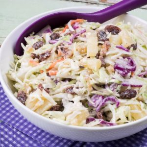 Pineapple Walnut Raisin Coleslaw