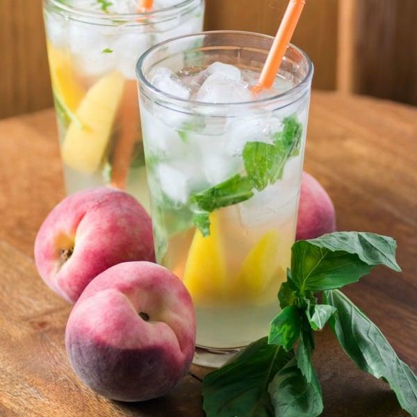 Refreshing Peach Basil Cocktail