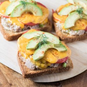 Open-Faced Tuna Melt Sandwich