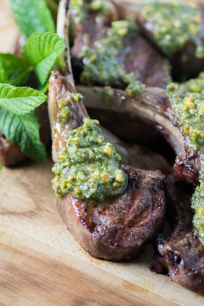 Grilled Lamb Chops with Pistachio Mint Pesto