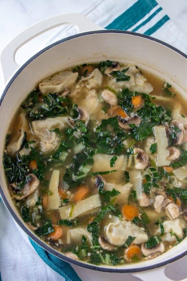 Wor Wonton Soup in a pot