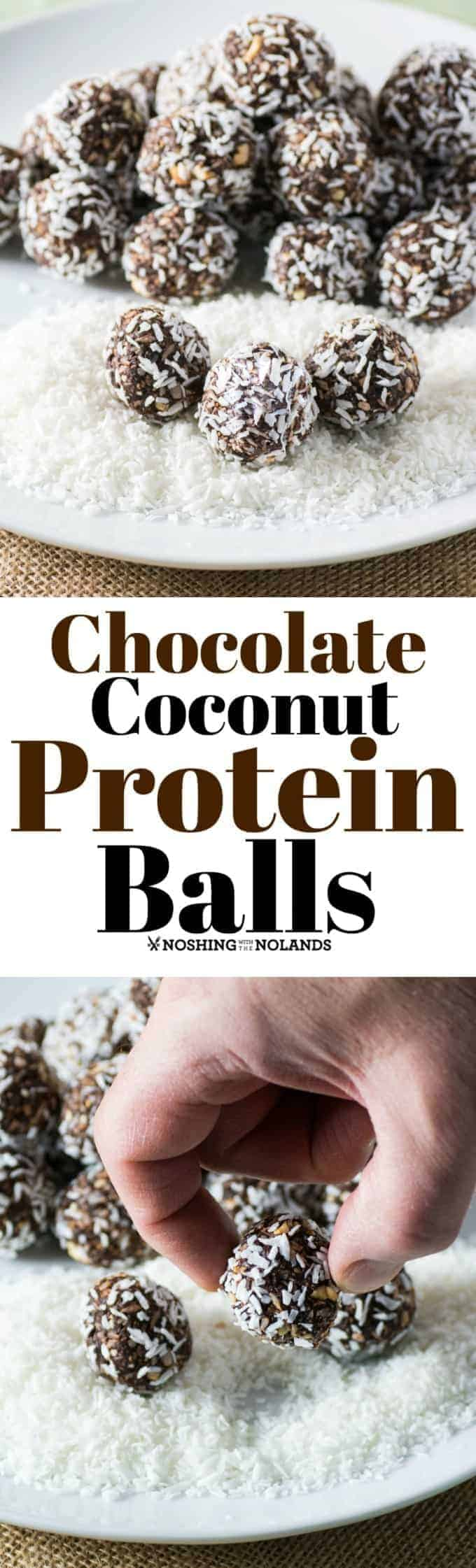 Chocolate Coconut Protein Balls by Noshing With The Nolands are a healthy and delicious snack for school or an afternoon pick me up!