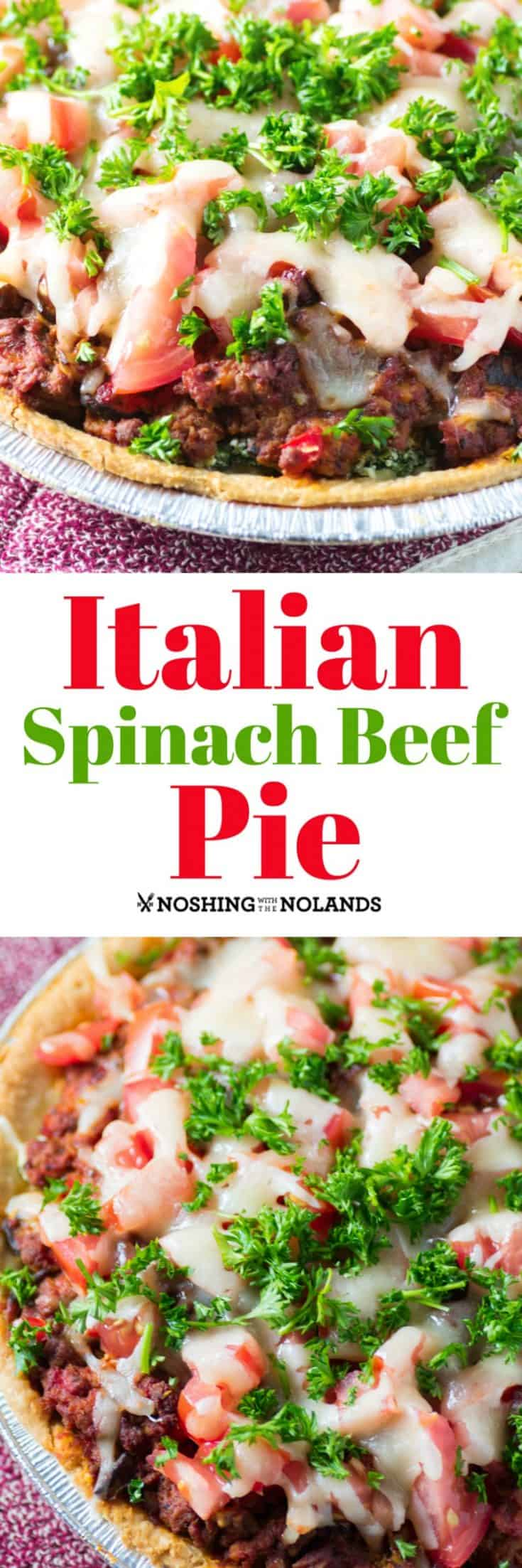 Italian Spinach Beef Pie has been a family favorite for years!! It is easy to make and an entire meal in a slice!! #beefpie #Italian
