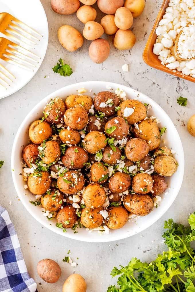 Lemon Feta Mediterranean potatoes in a white bowl