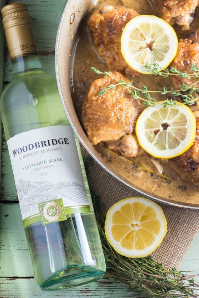 Lemon Garlic Sauvignon Blanc Braised Chicken