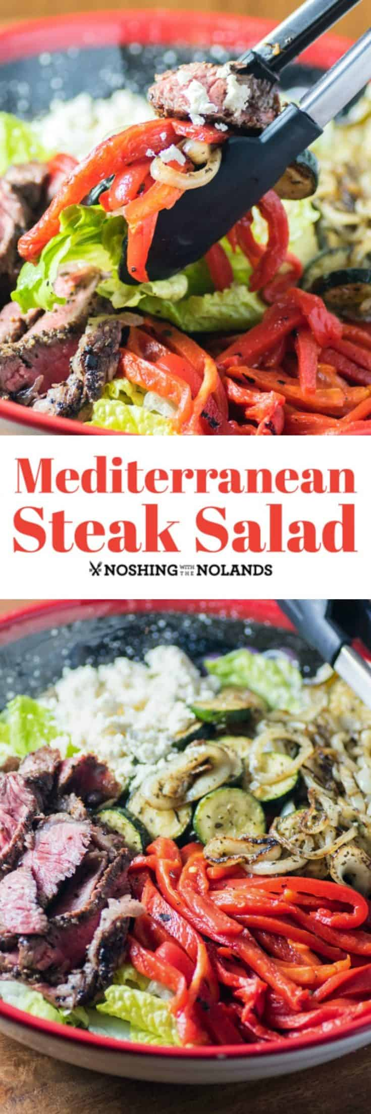 This Mediterranean Steak Salad is simple to pull together but is bursting with flavor! It also packs a punch of healthy ingredients into your diet! #steaksalad