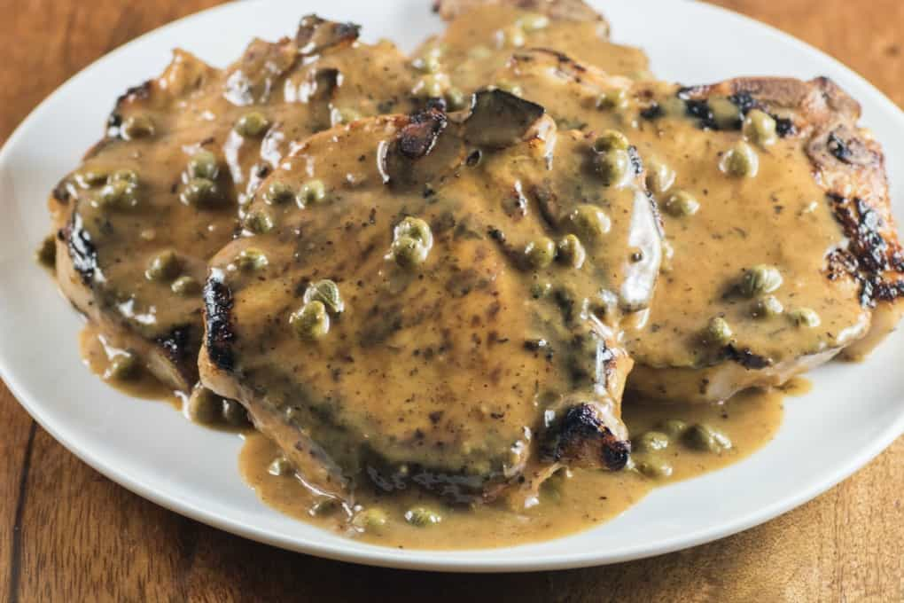 Buttermilk Pork Chops with Lemon Caper Sauce