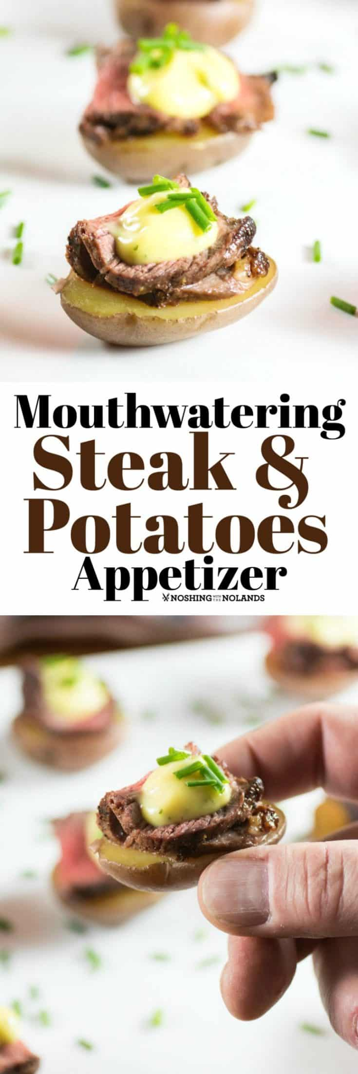 Mouthwatering Steak and Potatoes Appetizer is easy to make, elegant and gives everyone that steak and potato love!! #appetizer #steakandpotatoes
