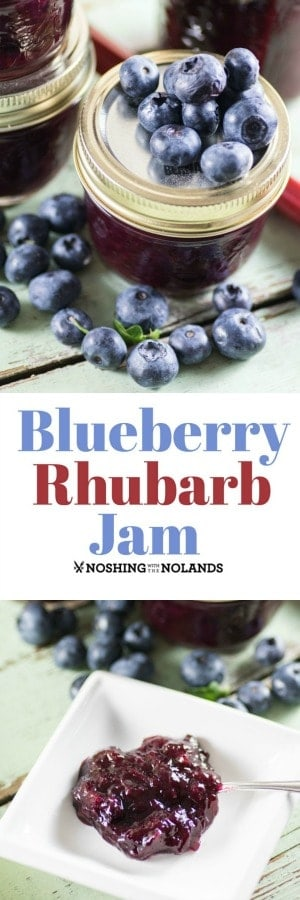 Blueberry Rhubarb Jam by Noshing With The Nolands is an amazing summer jam that uses up a lot of that wonderful garden rhubarb.