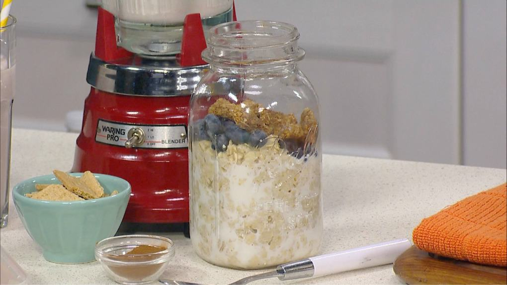 Jar of overnight oats