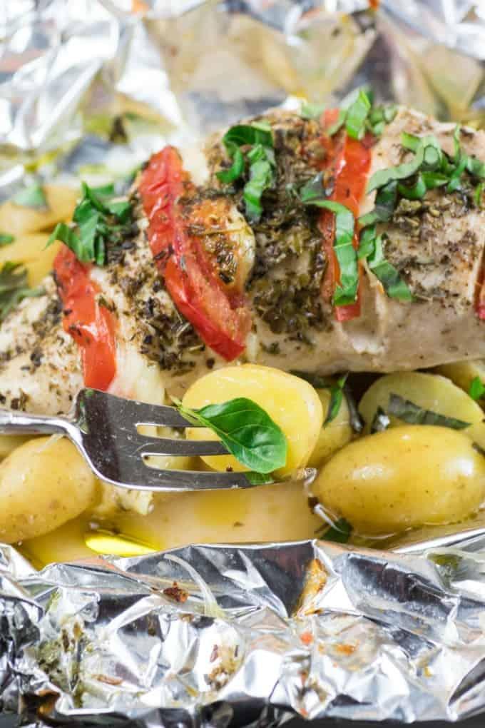 Grilled Caprese Chicken Little Potato Foil Packs