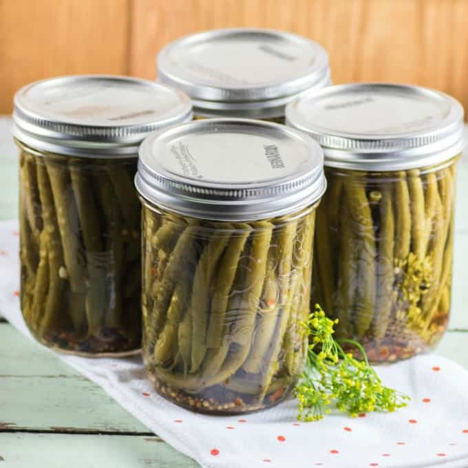 Four jars of Pickled Green Beans