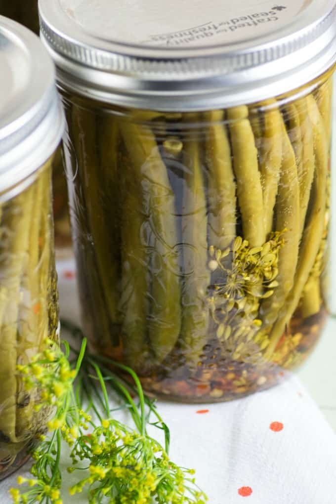 Pickled Green Beans in a pint jar