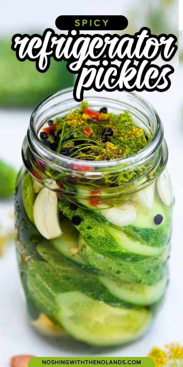 Crunchy, briny, slightly spicy, and full of wonderful dill and garlic flavor, these Spicy Refrigerator Pickles are the best. I love being able to offer them up at lunch or dinner and everyone is enjoying them to the fullest. #pickles #refrigeratorpickles