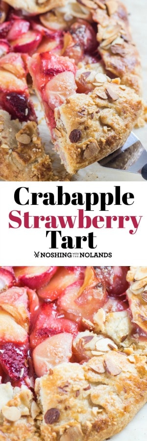 The tartness of the crabapples marries gorgeously with the sweetness from the strawberries in this Crabapple Strawberry Tart. #crabapples #strawberries