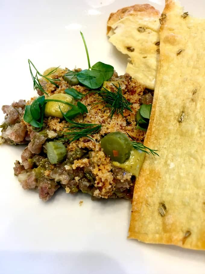 Beef Tartare with Fennel Crackers