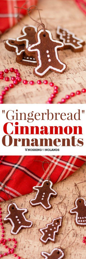 """Non-Edible """"Gingerbread"""" Cinnamon Ornaments are the perfect easy craft for the holidays!! #craft #holidays #Christmas #ornaments #gingerbread"""