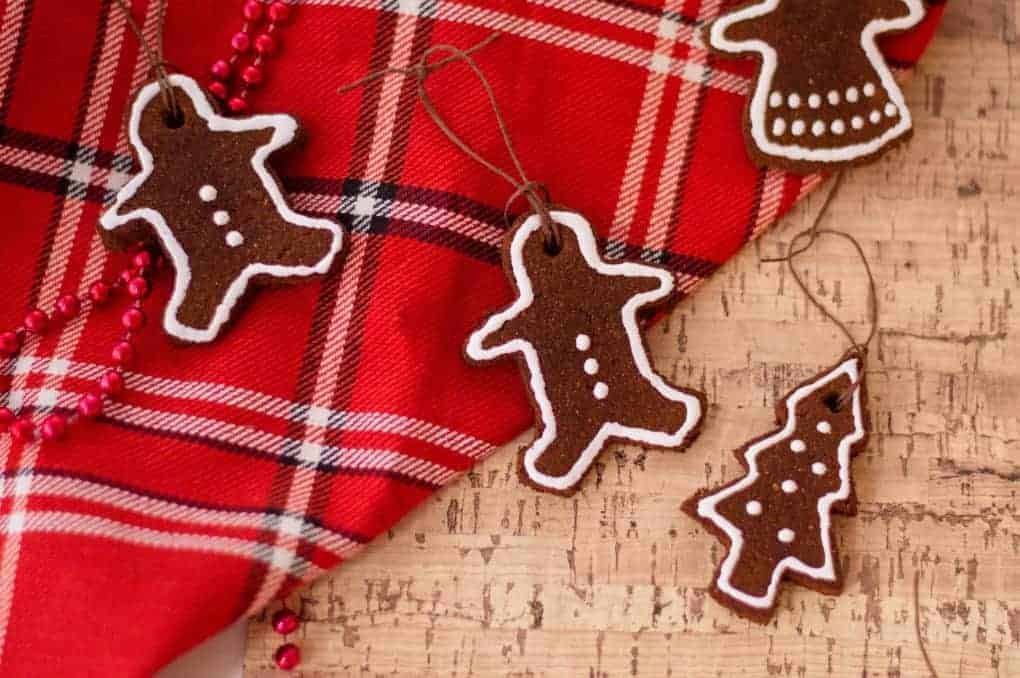 Cinnamon ornaments on a red plaid scarf and cork board